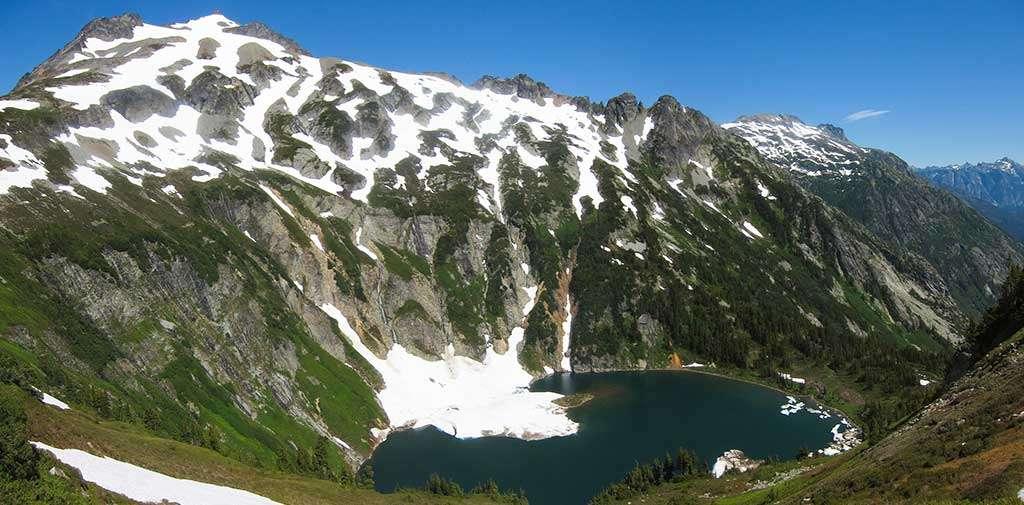 A lake seen from Sahale Peak