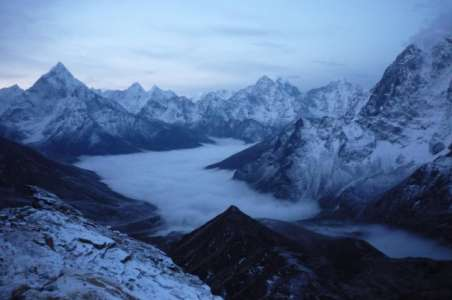 Looking down a valley near Everest Base Camp