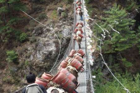 Mules carrying supplies across a bridge To Everest Base Camp