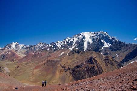 Two people looking at Aconcagua