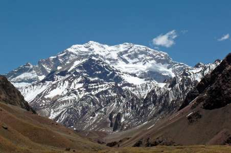 Looking up a valley view of Aconcagua