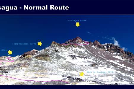 Map of a normal route up Aconcagua