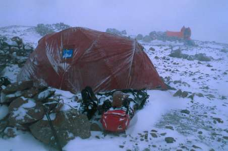 Stormy Camp on Aconcagua