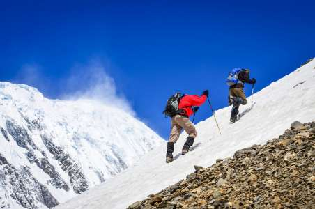 Two climbers on Stok Kangri