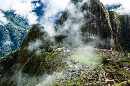 A misty view of Machu Pichu