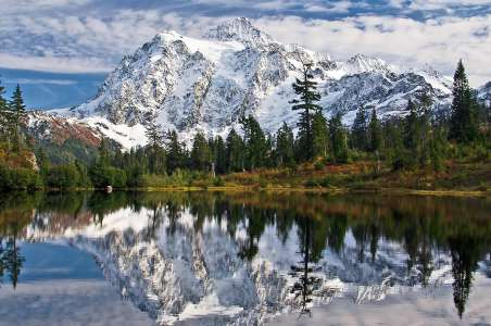 Mount Shuksan reflected in picture lake during October