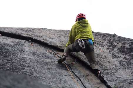 A climber working on basic skills