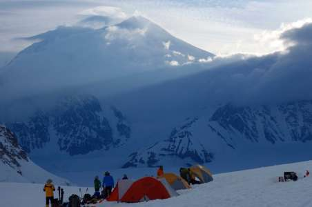 Climbers camping at camp I on Denali