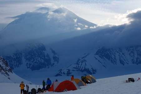 Climbers camping at camp I on Denali