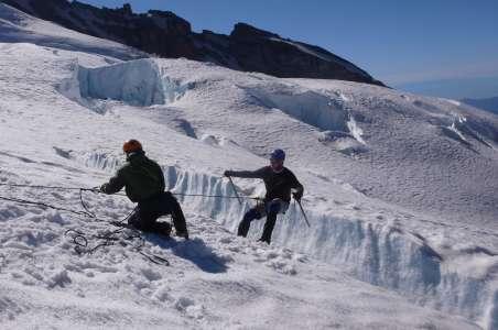 Climbers preparing by working on Crevasse skills for Denali