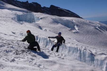 Climbers preparing by working on Crevasse skills for Denali