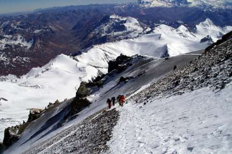 Looking down during climbing Aconcagua
