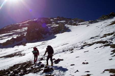 Two climbers make their way up Aconcagua