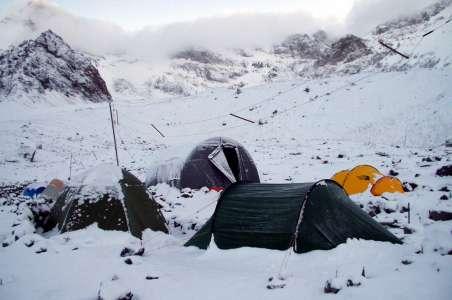Snowy camp on Aconcagua