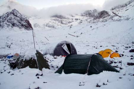 Snowy camp on Aconcagua