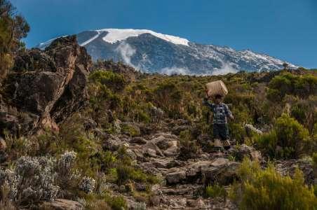 Porter-descending-Kilimanjaro