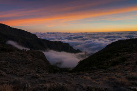 Sunset looking down Barranco Valley Kilimanjaro