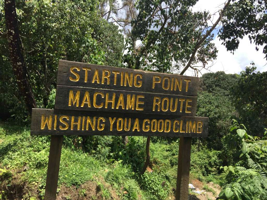 Machame Route starting marker