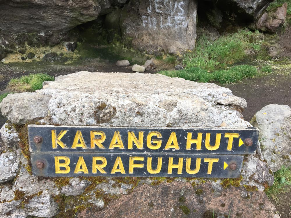 Karanga and Barafu huts sign (Day 4)
