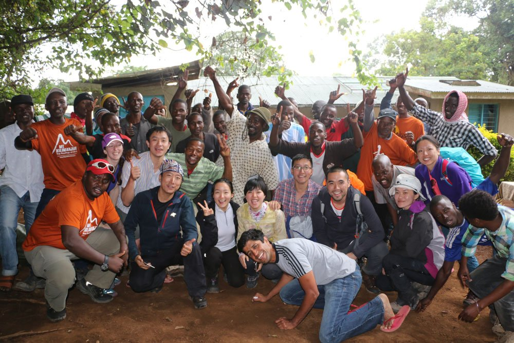 Whole group assembled at Mweka Gate (Day 6)