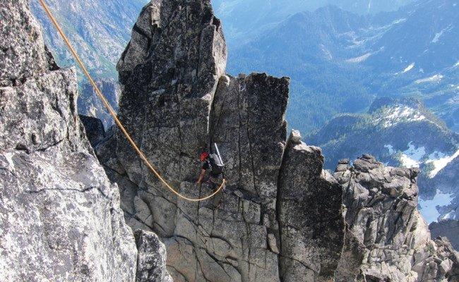 Nain climbing the North Ridge of Mt. Stuart near Wenatchee. Photo by Jason Schilling