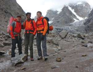 Tim Halder, Nain, and Jason Schilling (from left) in 2013 after their first ascent of Sanjana Peak, which they named after Nain's late sister. Photo by Tim Halder
